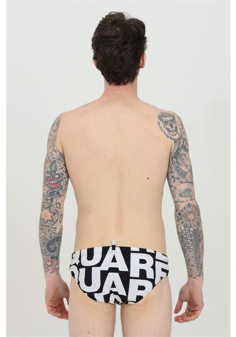 Black swimsuit slip with logo lettering print. Dsquared2  DSQUARED2 | Beachwear | D7B353800018