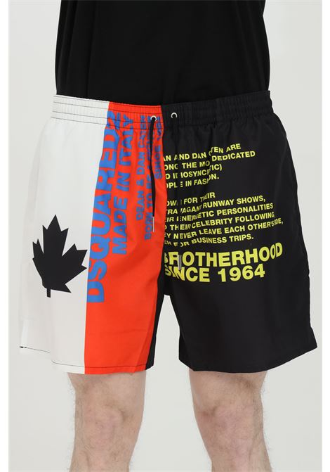 Multicolor swimsuit shorts with elastic waistband and print. Closure with laces and inner mesh lining. Dsquared2 DSQUARED2 | Beachwear | D7B543900996
