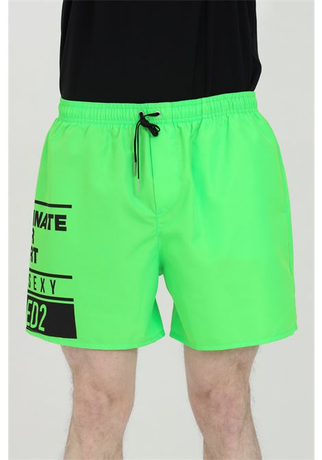 Green fluo swimsuit shorts with elastic waistband and print. Closure with laces and inner mesh lining. Dsquared2 DSQUARED2   Beachwear   D7B553690328