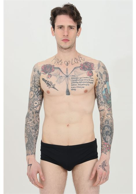 Black swimsuit slip with leaf print on the back. Slim model. Dsquared2 DSQUARED2 | Beachwear | D7B573630001