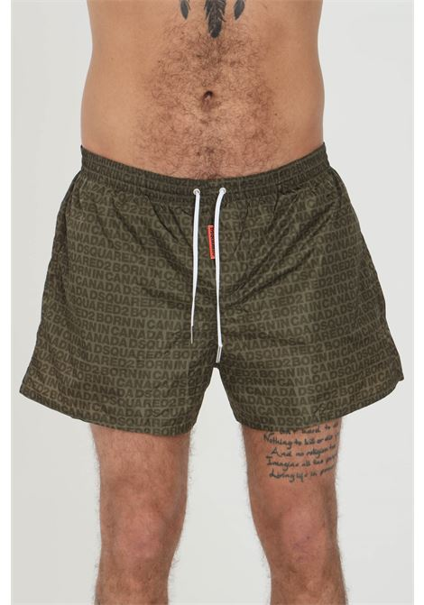 Military green swimsuit shorts with pattern print. Clsoure with laces. Comfortable model, straight bottom. Dsquared2 DSQUARED2 | Beachwear | D7B642970308
