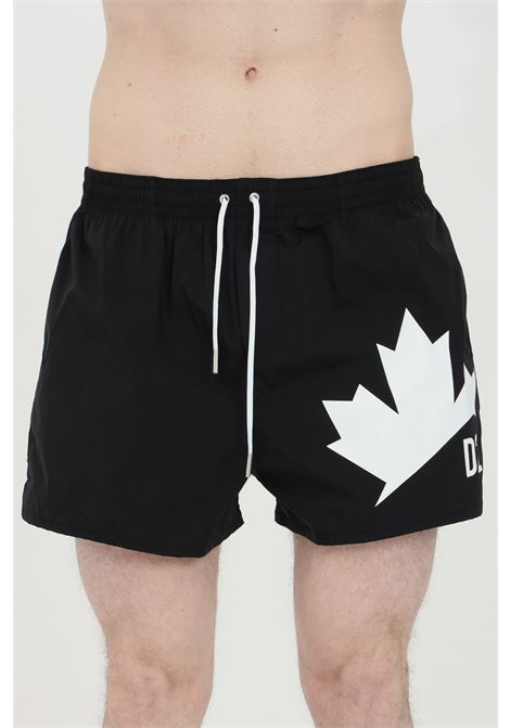 Black swimsuit shorts with elastic waistband and leaf print on th front. Dsquared2 DSQUARED2 | Beachwear | D7B643640001