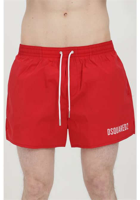 Red swimsuit shorts with elastic waistband and Icon print on the back. Closure with laces and inner mesh lining. Dsquared2  DSQUARED2 | Beachwear | D7B643730618