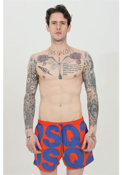 Orange-blue swimsuit shorts with maxi logo lettering. Closure wiht laces and inner mesh lining. Dsquared2  DSQUARED2   Beachwear   D7B643840858