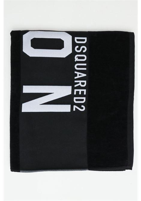 Telo mare unisex nero-bianco dsquared2 in cotone con maxi logo ricamato a constrasto DSQUARED2 | Telo mare | D7P003480010