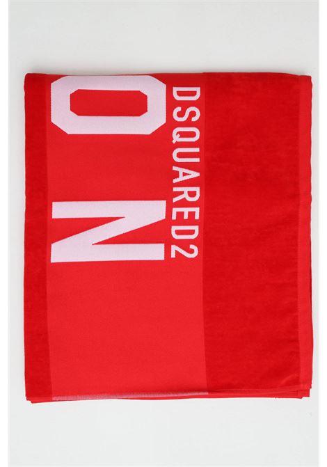 Telo mare unisex rosso-bianco dsquared2 in cotone con maxi logo ricamato a constrasto DSQUARED2 | Telo mare | D7P003480613