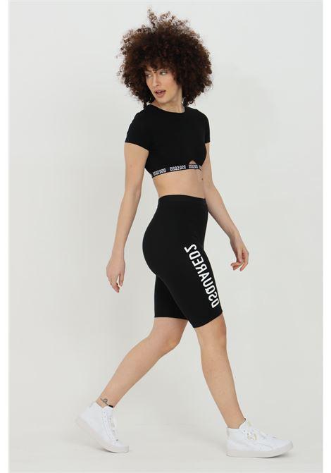 Shorts donna nero dsquared2 sport con stampa a contrasto. Molla in vita. Modello a vita alta DSQUARED2 | Shorts | D8N603540010