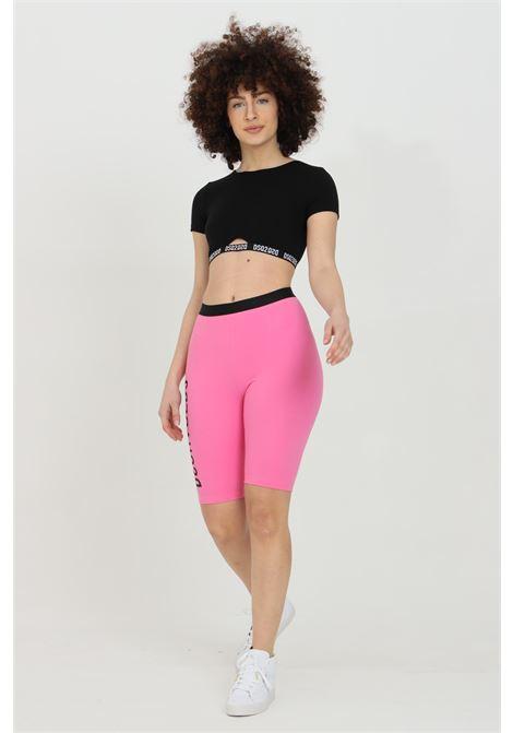 Shorts donna fucsia dsquared2 sport con stampa a contrasto. Molla in vita. Modello a vita alta DSQUARED2 | Shorts | D8N603540670