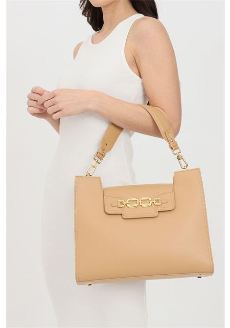 Shopper donna cammello elisabetta franchi con moschettoni in oro ELISABETTA FRANCHI | Borse | BS18A11E2470