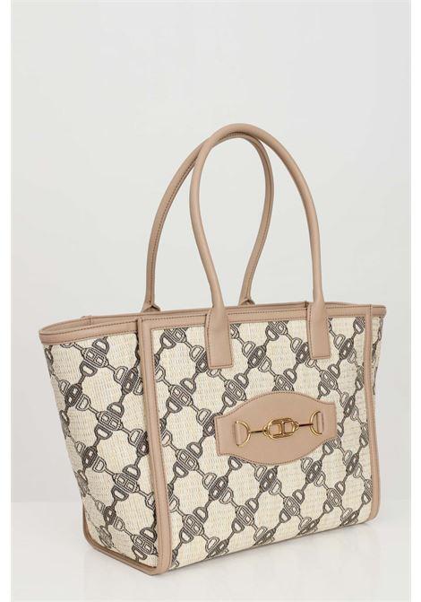 Shopper woman tortora elisabetta franchi with print clamps ELISABETTA FRANCHI | Bag | BS32A11E2390