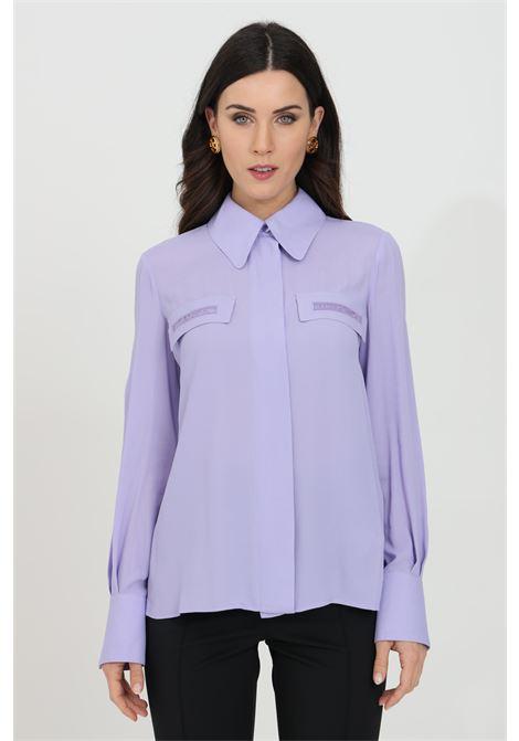 Camicia donna lavanda elisabetta franchi elegante con manica a sbuffo ELISABETTA FRANCHI | Camicie | CA28111E2Q38