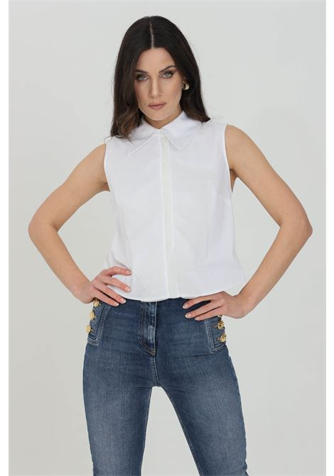 Camicia donna bianca elisabetta franchi smanicata ELISABETTA FRANCHI | Camicie | CA30011E2100