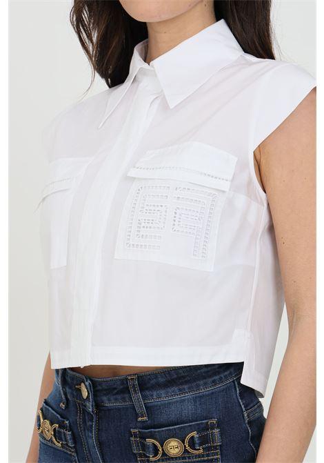Camicia donna bianca elisabetta franchi smanicata crop ELISABETTA FRANCHI | Camicie | CA30711E2100
