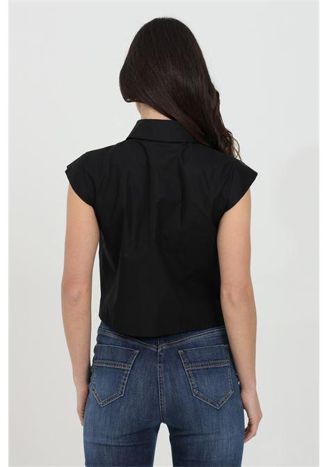 Camicia donna nera elisabetta franchi smanicata crop ELISABETTA FRANCHI | Camicie | CA30711E2110