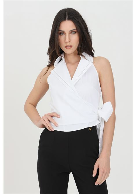 Elisabetta franchi white woman shirt knotted on the front ELISABETTA FRANCHI | Shirt | CA30911E2100