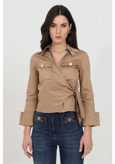 Camicia donna tortora elisabetta franchi manica a 3/4 ELISABETTA FRANCHI | Camicie | CA31511E2390