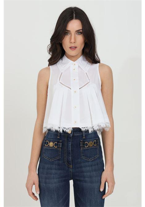 Elisabetta franchi white women's shirt with lace embroidery ELISABETTA FRANCHI | Shirt | CA31811E2100
