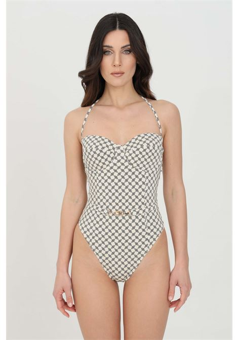 Elisabetta franchi women's white one-piece bikini with horsebit print ELISABETTA FRANCHI | Beachwear | CS40B11E2E84