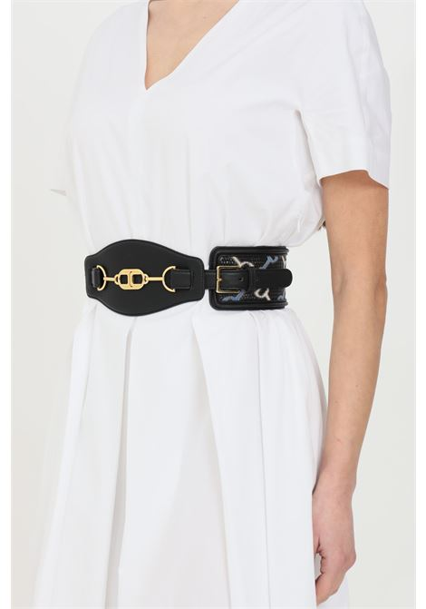 Elisabetta franchi black women's belt with high waist with clamps ELISABETTA FRANCHI | Belt | CT06S11E2110