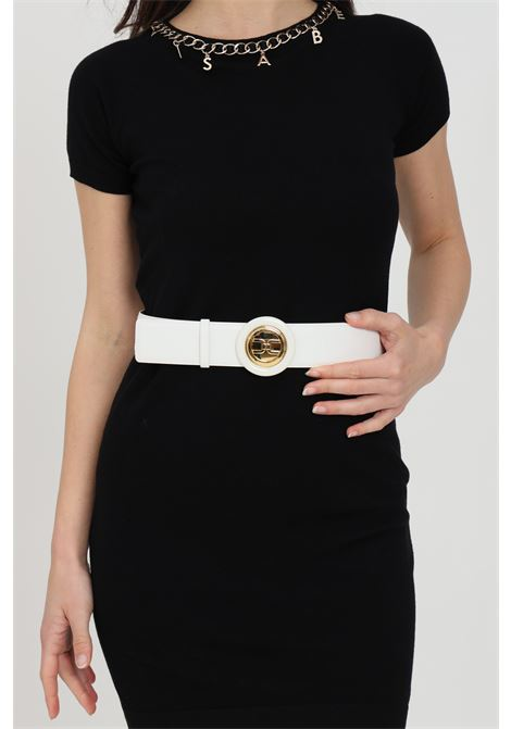 Cintura donna avorio elisabetta franchi con fibbia tonda ELISABETTA FRANCHI | Cinture | CT08S13E2360