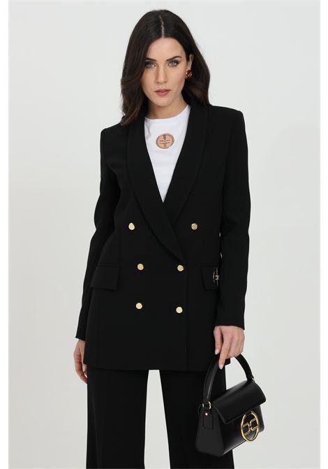 Giacca donna nera elisabetta franchi con bottoni frontali in oro ELISABETTA FRANCHI | Giacche | GI97311E2110