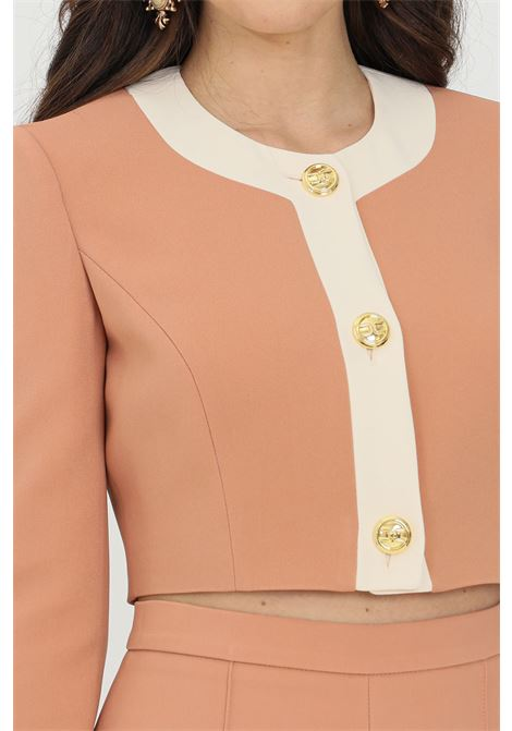 Giacca donna rosa gold Elisabetta Franchi corta bicolor ELISABETTA FRANCHI | Giacche | GI98013E2W77