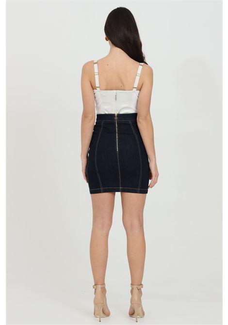 Denim mini skirt with logo buckles ELISABETTA FRANCHI | Skirt | GJ13S11E2104