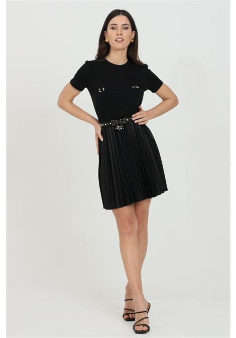 Skirt with plisset and lace applications. Side zip closure ELISABETTA FRANCHI | Skirt | GO43411E2110