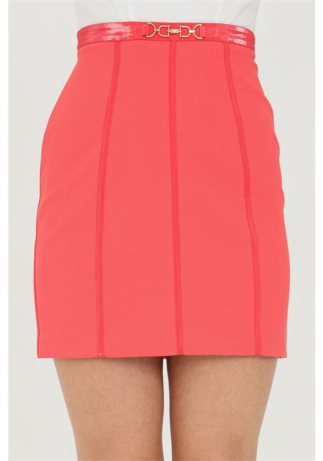 Mini skirt with zip on the back and eco-leather inserts ELISABETTA FRANCHI | Skirt | GO44411E2620