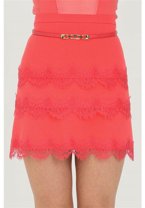 Mini skirt with belt and lace ELISABETTA FRANCHI | Skirt | GO46511E2620