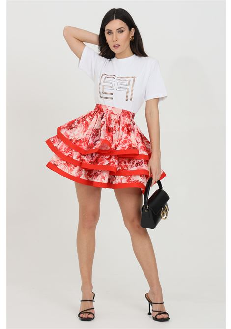 Flounced skirt with floral print and zip closure on the back ELISABETTA FRANCHI | Skirt | GO46811E2620