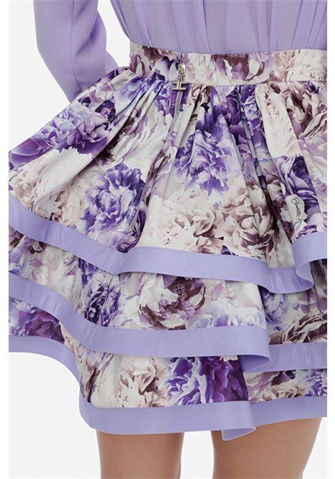 Women's skirt amaranth elisabetta franchi with flounces with floral print ELISABETTA FRANCHI | Skirt | GO46811E2Q38