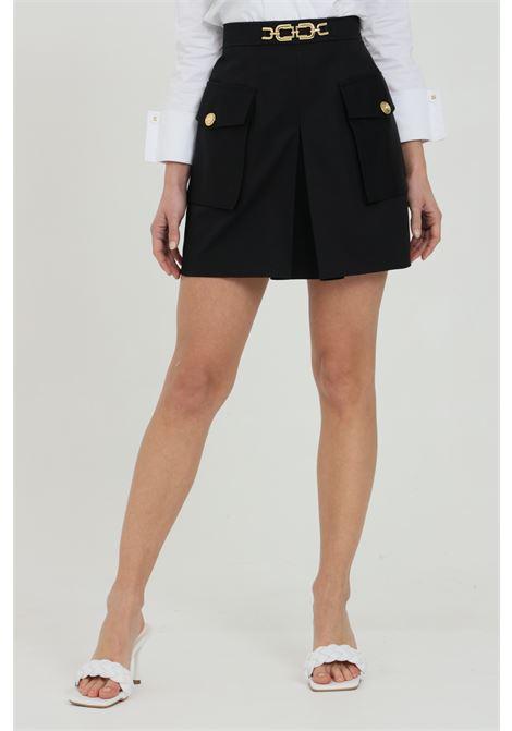 Minigonna donna nera elisabetta franchi con doppia tasca ELISABETTA FRANCHI | Gonne | GO47111E2110