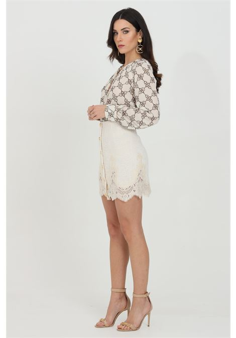 Short skirt with lace embroidery and zip closure on the back ELISABETTA FRANCHI | Skirt | GO47311E2193