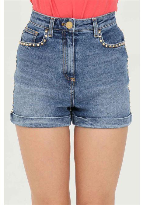 Women's shorts in denim, high waist with gold studs. Brand: Elisabetta Franchi  ELISABETTA FRANCHI | Shorts | HJ12D11E2192
