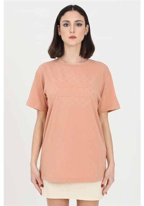 T-shirt donna cipria Elisabetta Franchi manica corta con logo in tono ELISABETTA FRANCHI | T-shirt | MA19611E2W71