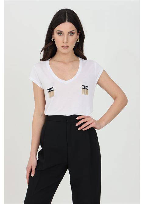 T-shirt donna gesso Elisabetta Franchi manica corta con logo e micro catene ELISABETTA FRANCHI   T-shirt   MA19711E2270