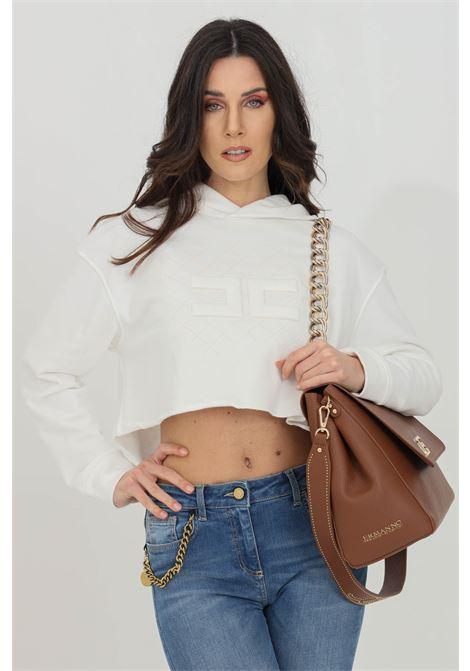 Ivory hoodie with front logo. Brand: Elisabetta Franchi ELISABETTA FRANCHI | Sweatshirt | MD04611E2360