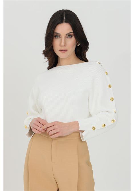 White women's sweater Elisabetta Franchi 3/4 sleeves with gold buttons ELISABETTA FRANCHI | Knitwear | MK10S11E2360