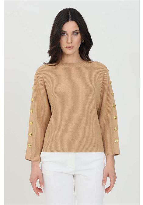 3/4 Elisabetta Franchi camel women's sweater with gold buttons ELISABETTA FRANCHI | Knitwear | MK10S11E2470