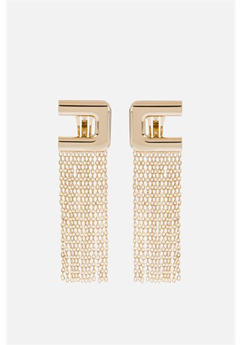 Elisabetta Franchi gold earrings with logo and chain cascade ELISABETTA FRANCHI | Bijoux | OR02A11E2604
