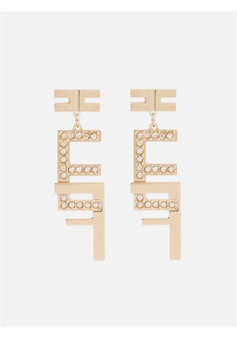 Orecchino pendente doppio logo in strass ELISABETTA FRANCHI | Bijoux | OR06B11E2604