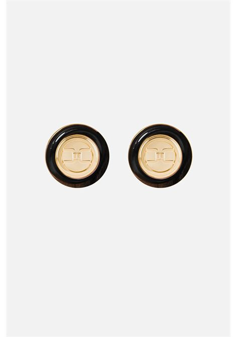 Black Elisabetta Franchi round earrings with logo ELISABETTA FRANCHI | Bijoux | OR4MC13E110