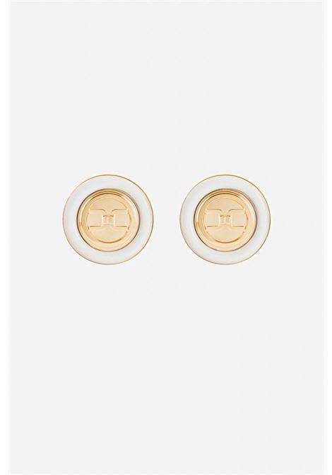 Ivory Elisabetta Franchi round Earrings with logo ELISABETTA FRANCHI | Bijoux | OR4MC13E360