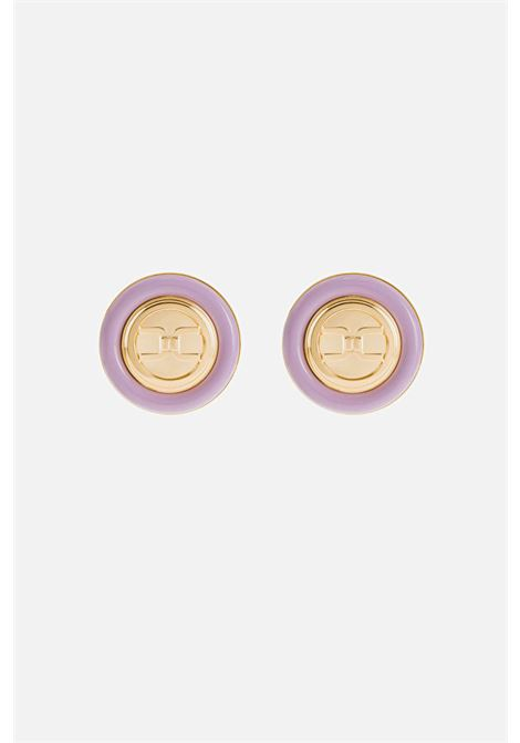 Earrings lavender Elisabetta Franchi round with logo ELISABETTA FRANCHI | Bijoux | OR4MC13EQ38