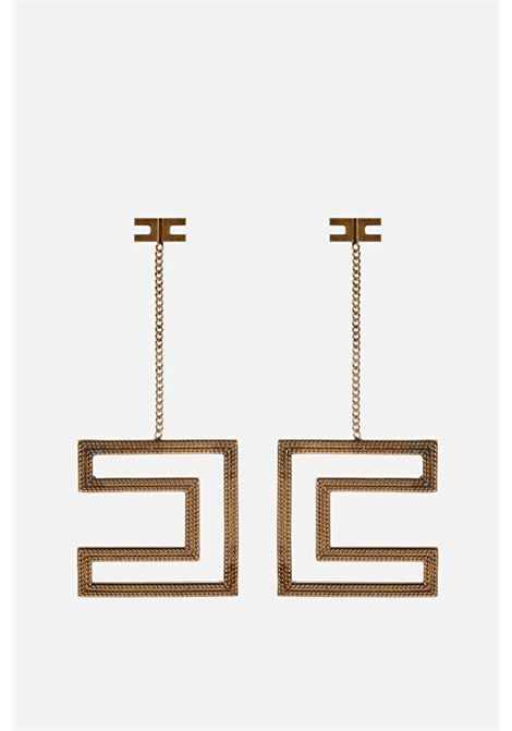 Elisabetta Franchi Earrings with logo in antique gold ELISABETTA FRANCHI | Bijoux | OR67A11E2028