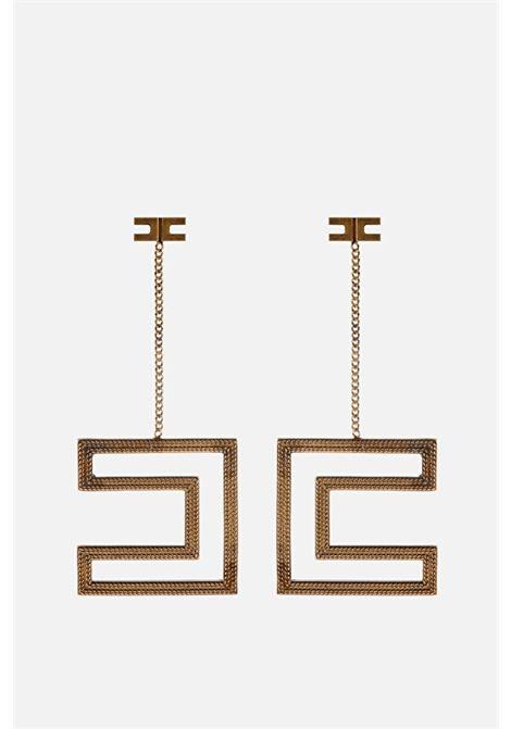 Orecchini Elisabetta Franchi con logo in oro antico ELISABETTA FRANCHI | Bijoux | OR67A11E2028