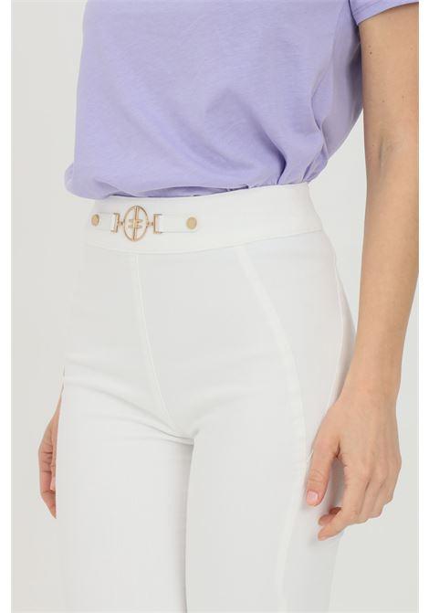Pantaloni donna avorio Elisabetta Franchi casual in cotone con vita alta ELISABETTA FRANCHI   Pantaloni   PJ97I11E2360