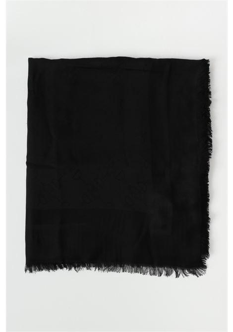 Women's scarf black elisabetta franchi scarf with tone-on-tone print ELISABETTA FRANCHI   Scarf   SC01F11E2110