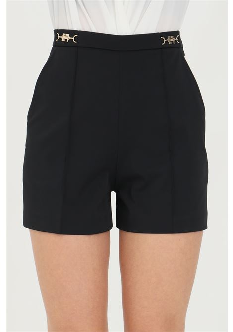 Black shorts in ottoman with gold details, brand: Elisabetta Franchi ELISABETTA FRANCHI | Shorts | SH00111E2110